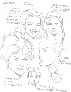 Lady Sabre Hair Model Sheet